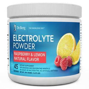 Dr. Berg's Original Electrolyte Powder - Hydration Drink Mix Supplement - Boosts Energy & Keto-Friendly - NO Maltodextrin & Sugar-Free - No Ingredients from China - Raspberry Lemon Flavor 45 Servings 10.7 Ounce (Pack of 1)