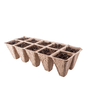 Seed Starter Tray Kit with Sprinkler Attachment | Pack of 10 X 10 Cell Germination Peat Pots | Bonus 30 Plant Markers | Ecological Seedling Pots for Plants | Organic Plant Starter Trays