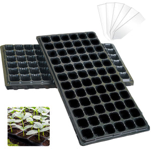(Combo Pack) 15-Pack Seed Starter Trays and 100-Pack Plastic Plant Nursery Labels - 72-Cell Mini Germination Trays for Indoor Seed Starter Kits and 4-Inch White Stake Tags for Nurseries and Gardens