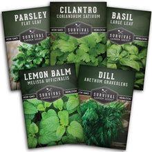 Load image into Gallery viewer, Survival Garden Seeds Herb Collection Seed Vault - Parsley, Cilantro, Basil, Lemon Balm, Dill - Non-GMO Heirloom Survival Garden Seeds for Planting - Grow Herbs Indoors Year Round