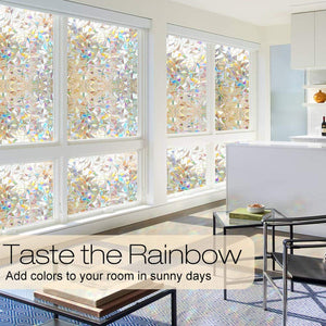 "rabbitgoo Window Privacy Film, Rainbow Window Clings, 3D Decorative Window Vinyl, Stained Glass Window Decals, Static Cling Window Sticker Non-Adhesive, 17.5 x 78.7 inches 17.5"" x 78.7"" (44.5 x 200 cm)"