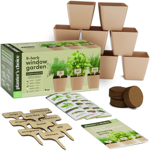 9 Herb Window Garden - Indoor Herb Growing Kit - Kitchen Windowsill Starter Kit - Easily Grow 9 Herbs Plants from Scratch with Comprehensive Guide - Unique Gardening Gifts for Women & Men