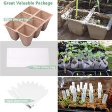 Load image into Gallery viewer, MIXC 25PCS Seed Starter Tray Seedling Growing Trays Peat Pots 100% Eco-Friendly Plant Germination Grow Kit , 1.3 inch Square 150 Cells with 10 Nursery Grow Bags 10 Plant Labels
