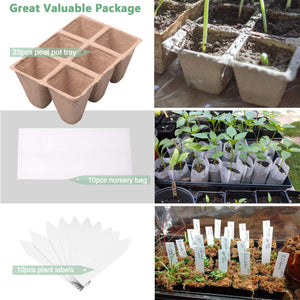 MIXC 25PCS Seed Starter Tray Seedling Growing Trays Peat Pots 100% Eco-Friendly Plant Germination Grow Kit , 1.3 inch Square 150 Cells with 10 Nursery Grow Bags 10 Plant Labels