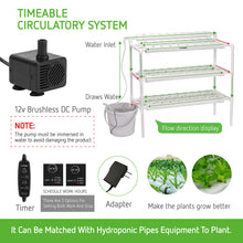 Load image into Gallery viewer, VIVOSUN Hydroponic Grow Kit, 3 Layers 90 Plant Sites 10 PVC Pipes Hydroponics Growing System with Water Pump, Pump Timer, Nest Basket and Sponge for Leafy Vegetables