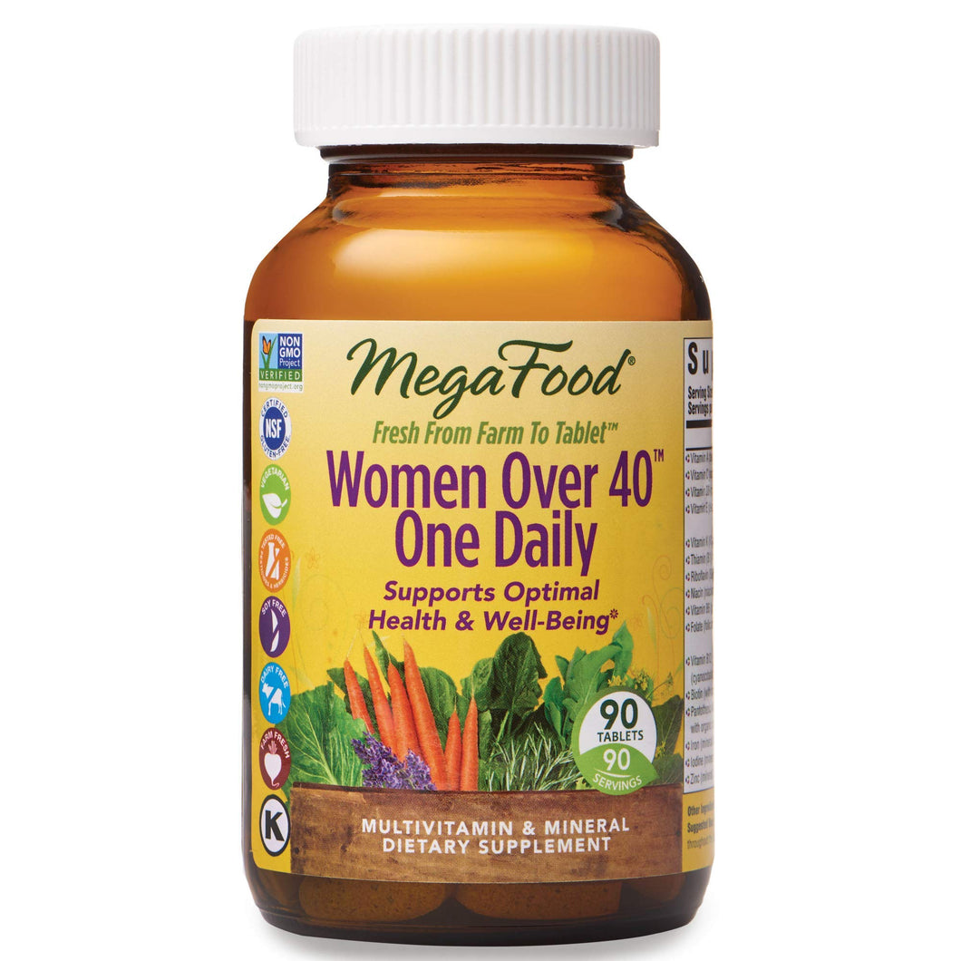 MegaFood, Women Over 40 One Daily, Daily Multivitamin and Mineral Dietary Supplement with Vitamins C, D, Folate, Biotin and Iron, Non-GMO, Vegetarian, 90 tablets (90 servings) 90 Count (Pack of 1)