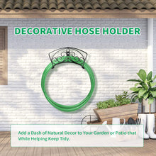 Load image into Gallery viewer, Garden Hose Holder Heavy Duty Water Hose Holder Expandable Hose Hanger Solid Metal Hose Storage Durable Wall Mount Decorative Hose Reel Hose Rack Sturdy Hose Organizer for Outside Yard with Hardware XL