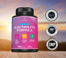 Load image into Gallery viewer, Premium Electrolyte Capsules – Support for Keto, Low Carb, Rehydration & Recovery - Electrolyte Replacement Capsules – Includes Electrolyte Salts, Magnesium, Sodium, Potassium – 100 Capsules