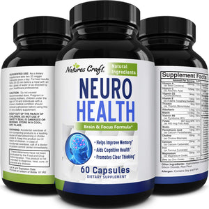 Nootropics Brain Supplement Support - Memory Booster for Mind Focus Reduce Anxiety - DMAE Pills for Concentration Improve Brain Function, Nuero & IQ with Bacopa Monnieri L-Glutamine for Men and Women 60 Count (Pack of 1)