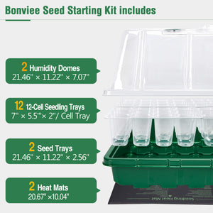 2 Sets 72-Cell Seed Starter Kits with Heat Mats - Strong Seed Trays with Humidity Domes, Transparent Cell Trays and Plant Lables - Cloning, Propagation and Germination Station