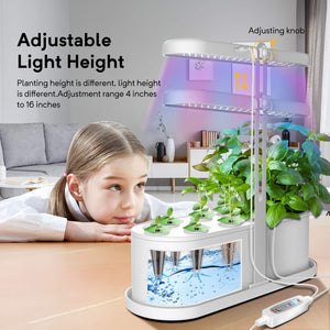 Elechome Hydroponics Growing System, Smart Indoor Herb Garden 10 Pots Plant Germination Kits Automatic Timer,Adjustable Height,Indoor Smart Garden Kits for Home Kitchen(White) White