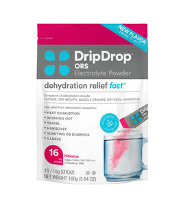DripDrop ORS Hot - Patented Electrolyte Powder For Dehydration Relief Fast - For Immunity, Illness, Cold & Flu - Hibiscus - 16 x 8oz Servings 16 Count (Pack of 1)