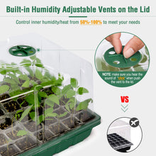 Load image into Gallery viewer, 2 Sets 72-Cell Seed Starter Kits with Heat Mats - Strong Seed Trays with Humidity Domes, Transparent Cell Trays and Plant Lables - Cloning, Propagation and Germination Station