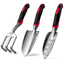 Load image into Gallery viewer, Garden Hand Tools Set of 3, Heavy Duty Cast Aluminum Garden Tools with Ergonomic Handles, Kit Includes 2 Trowels 1 Cultivator Hand Rake (3 Piece) Small Shovels for Gardening