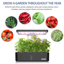 Load image into Gallery viewer, iDOO 12Pods Indoor Herb Garden Kit, Hydroponics Growing System with LED Grow Light, Smart Garden Planter for Home Kitchen, Automatic Timer Germination Kit, Height Adjustable, ID-IG301(No Seeds) Black