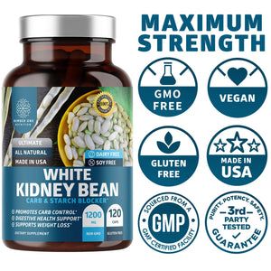 N1N Premium White Kidney Bean Extract [Max Strength & Absorption] Powerful Carb & Starch Blocker to Support Weight Loss and Boost Metabolism, Non GMO & Gluten Free, 120 Caps