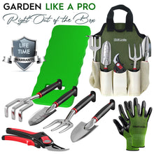 Load image into Gallery viewer, 8-Piece Gardening Tool Set-Includes EZ-Cut Pruners, Lightweight Aluminum Hand Tools with Soft Rubber Handles- Trowel, Bamboo Gloves, Garden Tote, High Density Comfort Knee Pad Gardening Gifts Tool Set