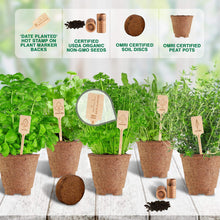 Load image into Gallery viewer, Indoor Herb Garden Starter Kit - Certified USDA Organic Non GMO - 5 Herb Seed Basil, Cilantro, Parsley, Sage, Thyme, Potting Soil, Peat Pots - DIY Kitchen Grow Kit for Growing Herb Seeds Indoors