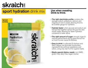 SKRATCH LABS Sport Hydration Drink Mix, Lemon Lime (46.5 oz, 60 servings) - Electrolyte Powder Developed for Athletes and Sports Performance, Gluten Free, Vegan, Kosher Lemon and Lime 2.9 Pound (Pack of 1)