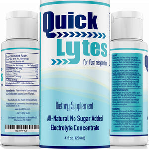 Quicklytes Electrolytes Supplement for Rapid Hydration | No Calorie No Sugar | Potassium, Magnesium & Sodium | Leg Cramp Relief | 48 Servings (1 Bottle) 4 Fl Oz (Pack of 1) Electrolyte Concentrate