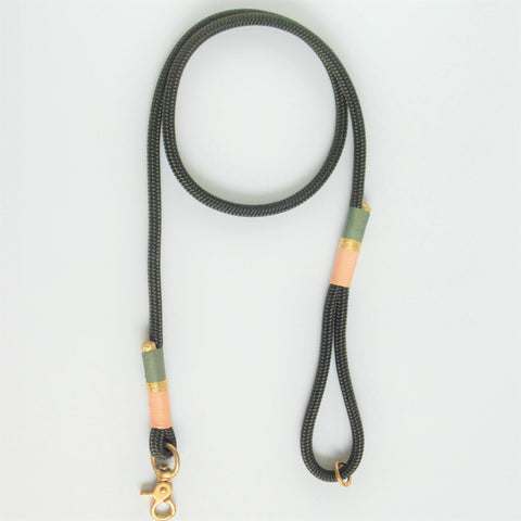 Chommies Standard Leash - OLIVE & PINK