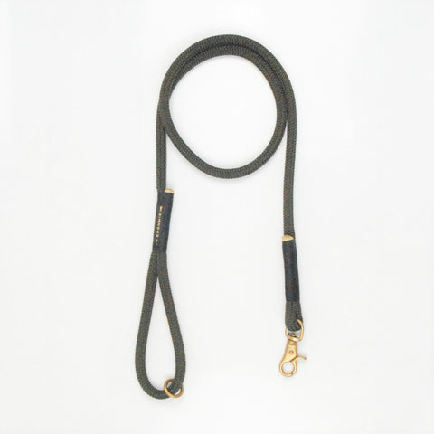 Chommies Standard Leash - BLACK WITH OLIVE ROPE