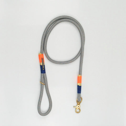 Chommies Standard Leash - NAVY & NEON ORANGE
