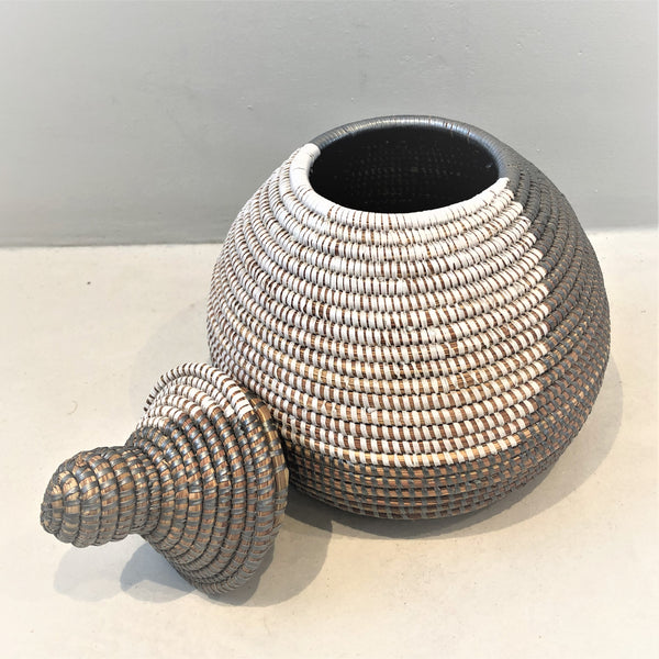 Small metallic gourd shaped basket bin