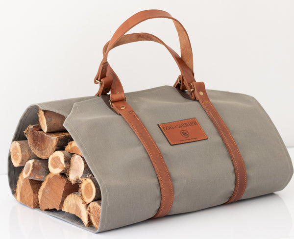 PdJ Canvas & Leather log carrier - GREY