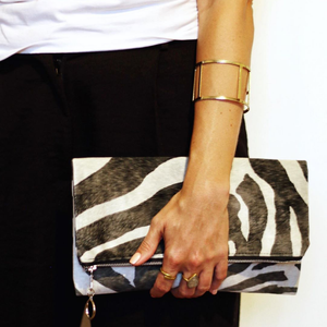Rona Jessie fold-over clutch bag - ZEBRA