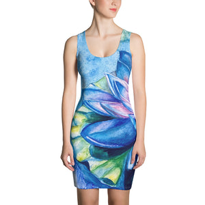 Blue Lotus Sublimation Cut & Sew Dress