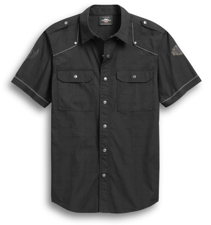 Chemise pour Hommes à Manches Courtes Accent Piping Skulll Wing Harley-Davidson®
