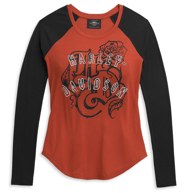 Chandails pour Femmes à Manches Longues Roses Rib Baseball Harley-Davidson®