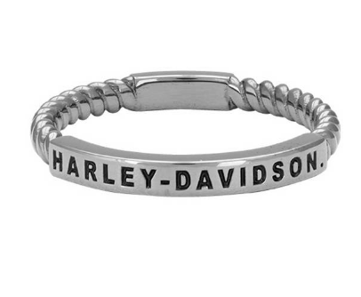 Bagues pour Femme Ruthenium Plated Rope Stackable Grise Harley-Davidson