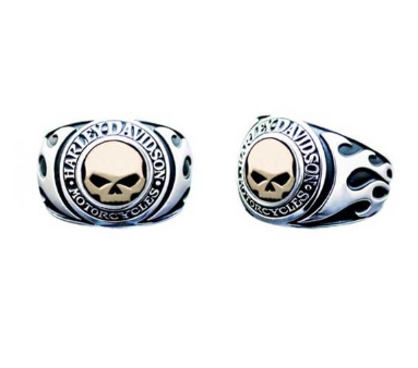 Bagues pour Homme Flames Willie G Skull Incruste Or 14kt Harley-Davidson