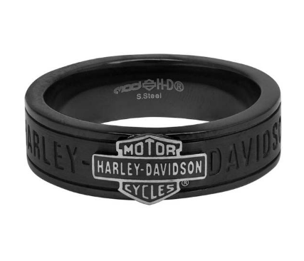 Bracelets pour Homme Bar and Shield Off-Road Thin Band Ring Black Steel Harley-Davidson