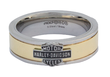 Bagues pour Homme Bar and Shield Gold Tone and Stainless Steel Band Harley-Davidson