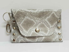 Load image into Gallery viewer, Silvery Beige Python Print Leather Coin Purse