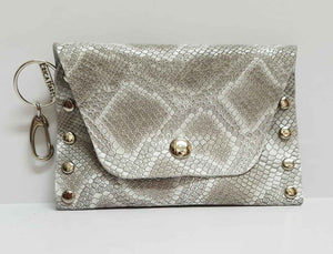 Silvery Beige Python Print Leather Coin Purse