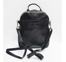 Load image into Gallery viewer, Black Leather Mini Backpack Crossbody