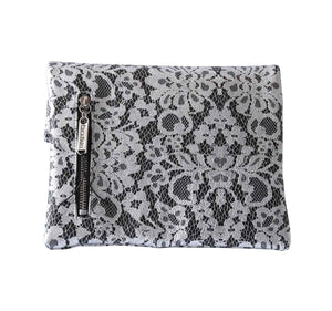 Chantilly Lace Black Leather Clutch