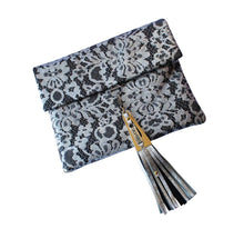 Load image into Gallery viewer, Chantilly Lace Black Leather Clutch