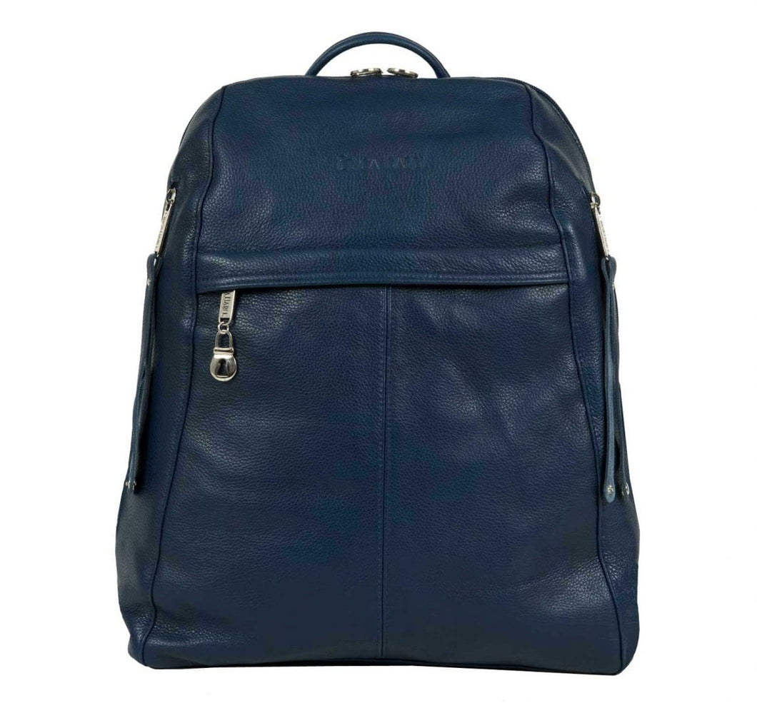 Men's Blue Leather Backpack