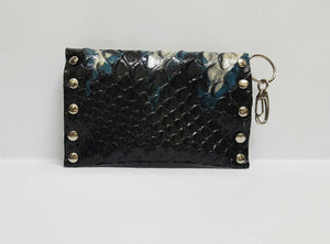 Python Blue Black Leather Coin Purse