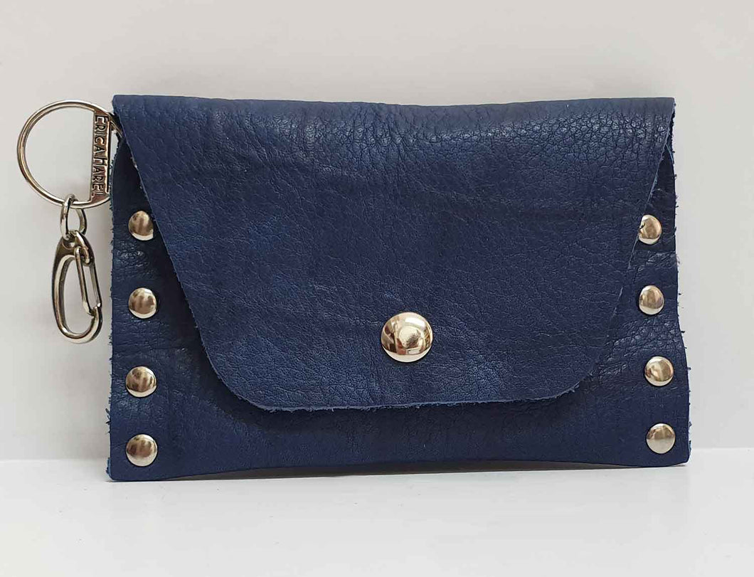 Blue Croc Embossed Leather Coin Purse