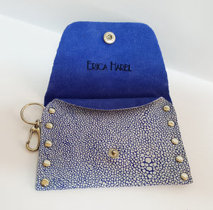 Blue Stringray Print Leather Coin Purse