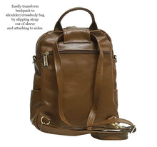 Load image into Gallery viewer, Brown Leather Mini Backpack Crossbody