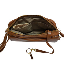 Load image into Gallery viewer, Brown Leather Crossbody Flap Bag