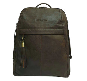 City Woman Brown Leather Backpack
