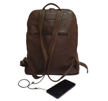 Load image into Gallery viewer, City Woman Brown Leather Backpack